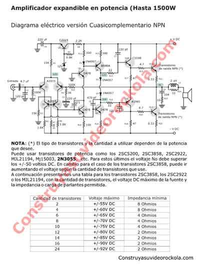 Circuito De Amplificador De Audio De 1000w Pdf : Descargar pdf del amplificador de w ampliable en potencia