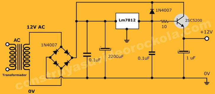 Fuente Regulada De Alta Corriente Con Transistor Adicional