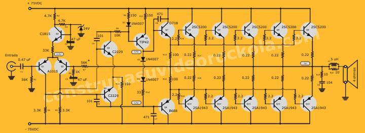 Circuito De Amplificador De Audio De 1000w Pdf : Amplificador zener estereo de w parte